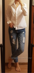 Белая хлопковая рубашка Benetton