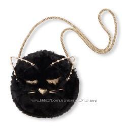 Меховая сумочка  черный  кот Cat Fuzzy Circle Bag  Children&acutes Place