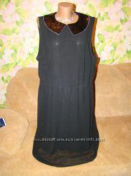 Шикарное новое шифоновое платье с воротничком паетки 24р. , на подкладке, бл