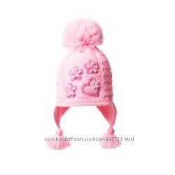 Зимняя шапка для девочки Сердечки 48-52 см.