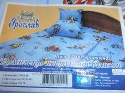 Постельные комплекты 1, 5 бязь с детскими рисунками фабричное качество