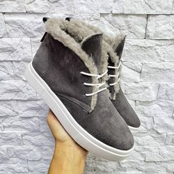 Удобные ботинки на шнуровке - зима и деми, натурал замша и кожа