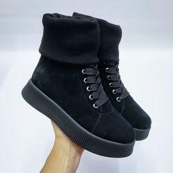 Стильные ботинки-кеды с довязом на толстой подошве, натуральная замша