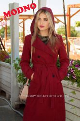 Плащ - тренч миди хлопок парка пальто марсала  хаки красный
