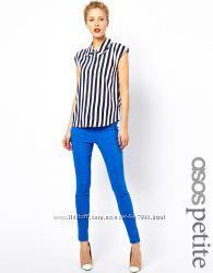 штаны с высокой талией skinny ASOS синий электрик