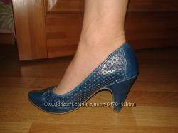 Туфли Zara TRF синие по сниженной цене  обувались 1 раз