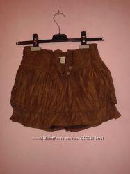 Мини юбка с перфорацией искусственная замша BERSHKA