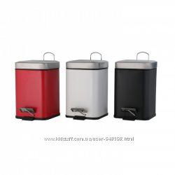 Ведро для мусора с педалью металлическое 3л,  красное, черное, белое