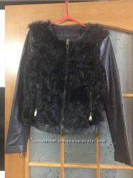 Кожанная куртка Zara с натуральным мехом в идеальном состоянии