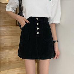 Женская стильная базовая джинсовая юбка на пуговицах цвет черный размер S,