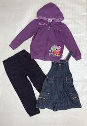 Комплектом тёплые вещи для девочки, штаны, джинсы, кофта, Benetton