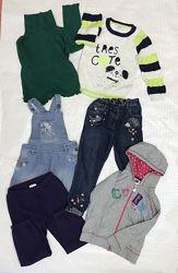 Комплект фирменных вещей для девочки 3-4 года, джинсы, свитер, гольф