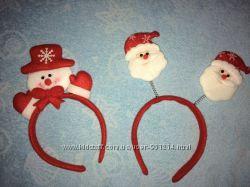 Новогодний обруч Дед Мороз и Снеговик