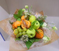 Съедобные, фруктовые букеты. Мясной, мужской букет. Оригинальный подарок