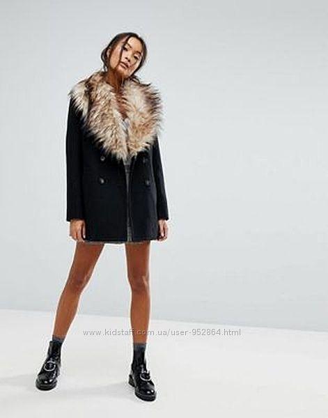 Шерстяное двубортное пальто с мехом clockhouse