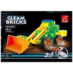 Конструктор Ausini светящийся Gleam Bricks Строительная техника 3в1, 73 д