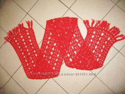 Теплый ажурный шарф ручной работы