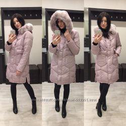 63b04e7ea759a9 Теплое зимнее пальто куртка пуховик длинное розовое р. 44 46, 1500 ...