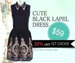 шикарное брендовое платье CUTE BLACK LAPEL DRESS