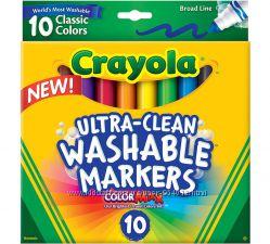 Crayola Broad Line Крайола фломастеры 10 шт, Washable легко смываются