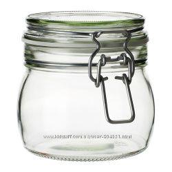 Банка с крышкой, прозрачное стекло