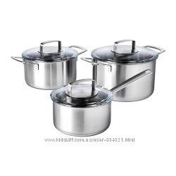Набор кухонной посуды, 3 предмета, нержавеющая сталь, стекло Икеа