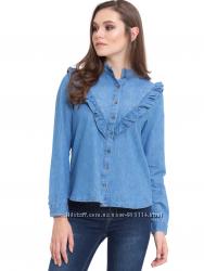 Джинсовая рубашка с рюшей воланом деним waikiki вайкики, турция