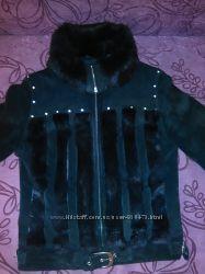Куртка из натуральной замши со вставочками натурального меха кролика