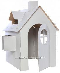 Детский домик из картона, картонный дом для игры и рисования.