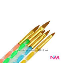 Набор Кистей 5 шт для акрила ручка ромбик