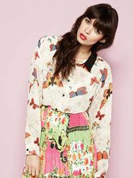 Шифоновая блузка рубашка принт бабочки