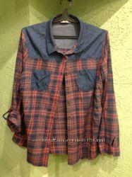 Рубашка хлопковая в клетку фирмы tu англ. 22р. 52-56
