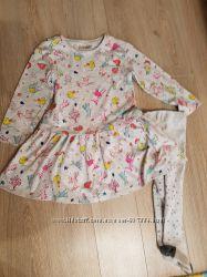 Платье туника и колготки Next , 1, 5-2 года
