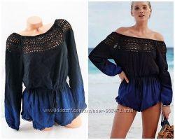 Victorias Secret оригинал пляжный комбинезон Long-sleeve Cover-up Romper