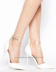 Туфли- лодочки asos белые на высоком каблуке с прозрачным ремешком