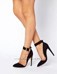 Туфли ASOS замшевые черные на высоком каблуке и с ремешком на подъемe