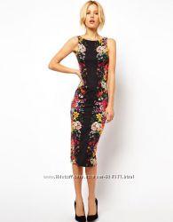 Платье asos миди с цветочным принтом в зеркальном отражении