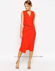 47390a922d8 Платье asos миди красное с драпировкой в стиле ренаты литвиновой ...