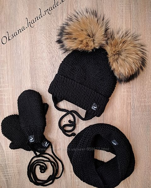 Вязаная шапочка, шапка, шарфик, варежки демисезонные, зимние, hand made