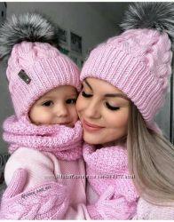 Шапки с меховым помпоном Family Look, шапка, шапочка