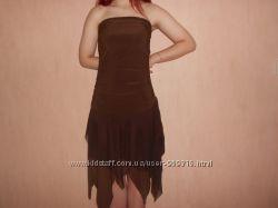 Платье бандо вечернее, наш 44, 46 размер, S, коктейльное, на выпуск, летнее