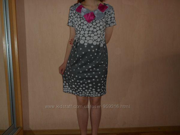 Красивое платье , 46-48 размер, Польша, трикотаж, летнее, в горошек