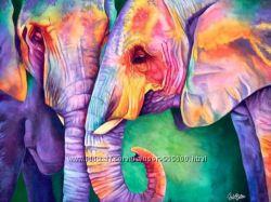 Картина по номерам Рисование на холсте Индийские краски Слоны КНО2456