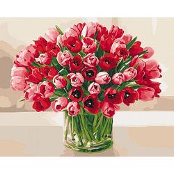 Картина по номерам Жгучие яркие тюльпаны в вазе