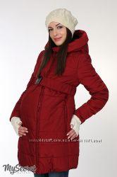 Зимняя куртка для беременных, бордовая