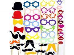 Фотобутафория для фотосессии маски, усы, очки на палочках Самые низкие цены
