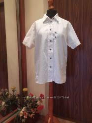 Льняная блуза Октоберфест прямого покроя с вышивкой, 48 укр