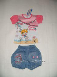 Літній дівчачий комплект футболка і шорти. 1 рік. Турція