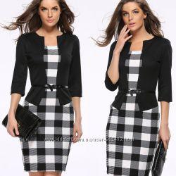 Оригинальное платье- обманка в модный принт Клетка размеры от S до XXXL