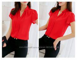 Женская повседневная блуза белая и красная Все размеры в наличии